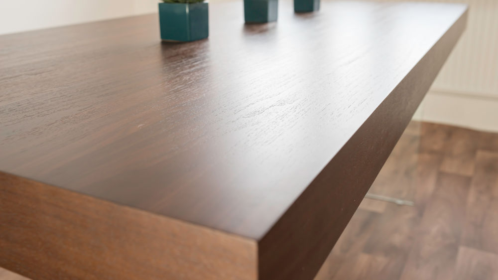 Dark Wood Veneer Dining Table