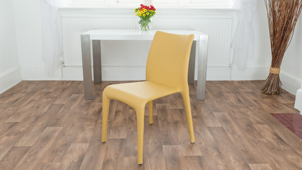 Modern Yellow Leather Dining Chairs