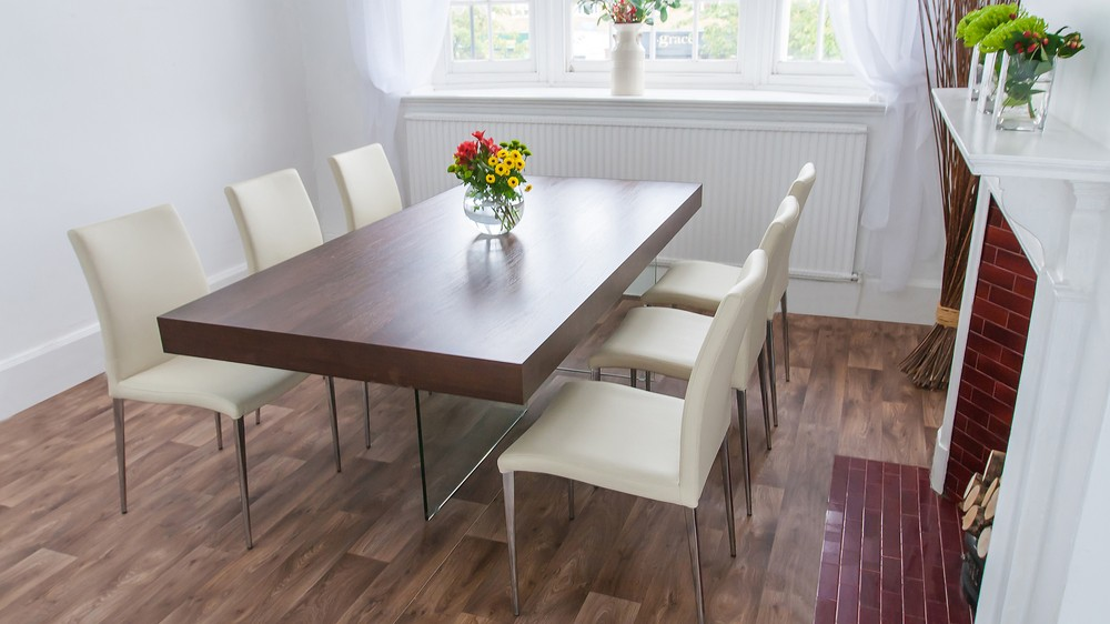 Large Dark Wood and Glass Dining Table and Cream Dining Chairs