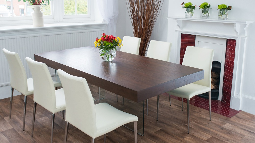 White Dining Chairs and 8 Seater Stylish Dining Table