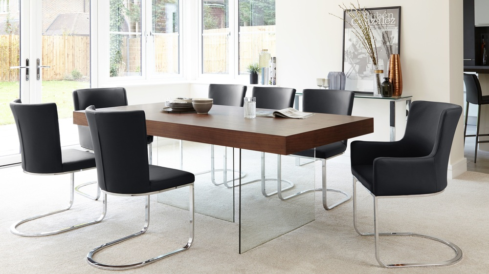 Black Form Dining Chairs and Aria Espresso Table