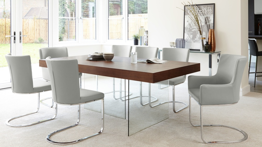Cool Grey Form Chairs and Oak Veneer Table