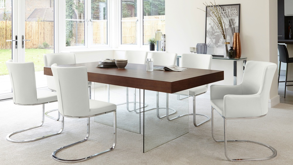 White Form Chairs and Wooden Glass Table