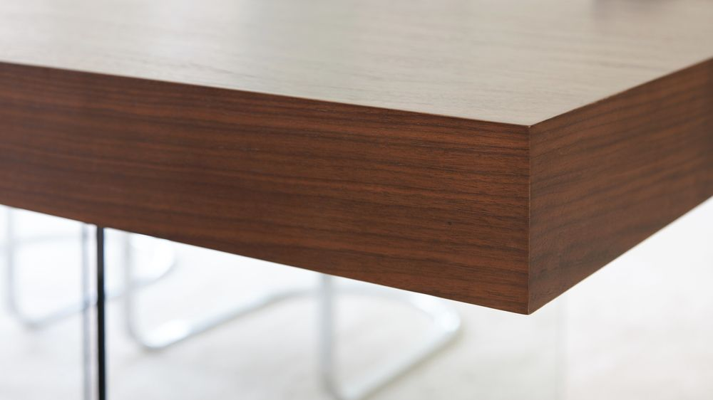 High Quality Veneer Table with Glass Leg
