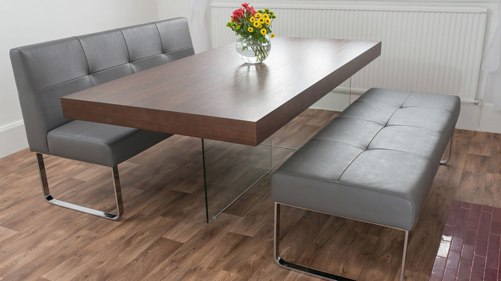 Modern Glass Based Dining Table And Grey Dining Benches