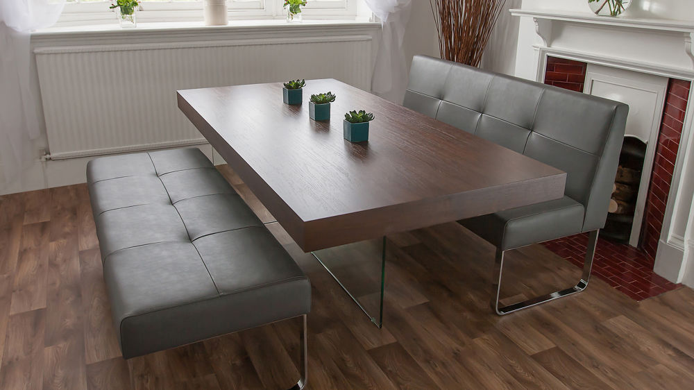 Dark Wood Dining Table and Dining Benches