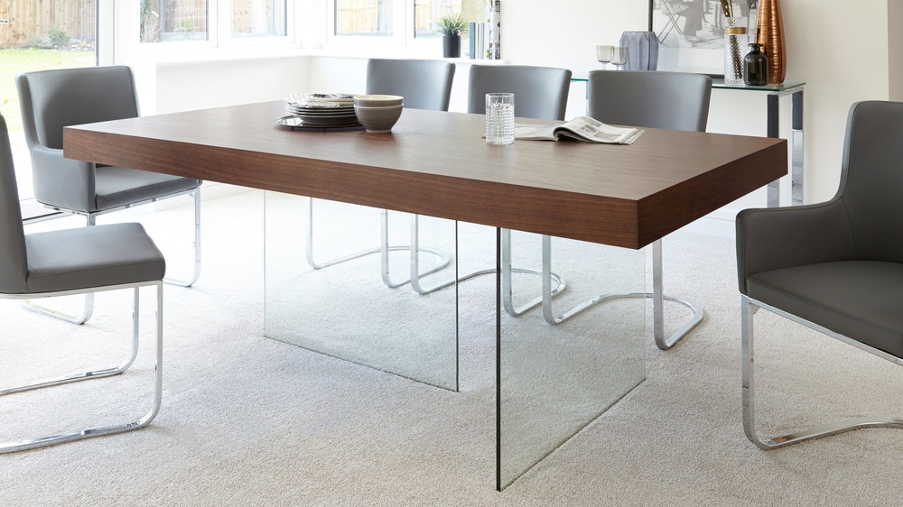 Modern dark wood dining table glass legs seats 6 to 8 for Wooden glass dining table designs