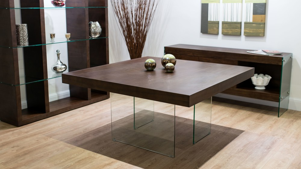 Dark Wood Square Dining Table Glass Legs Seats 6 8