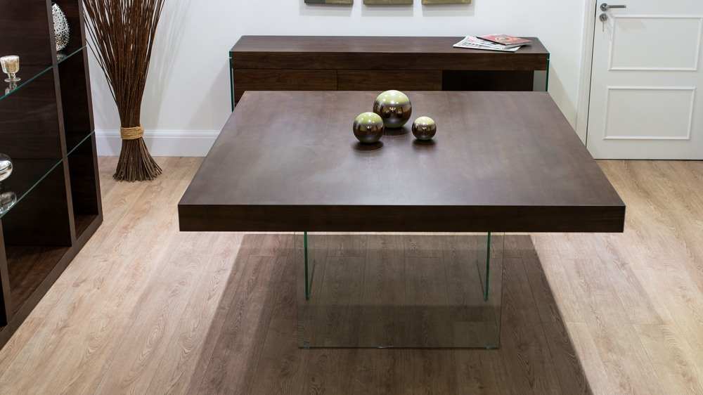 Dark Wood Veneer and Glass Legged Dining Table