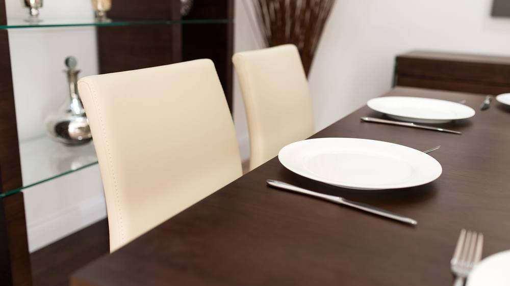 Stylish Dark Wooden Dining Table and Beige Dining Chairs