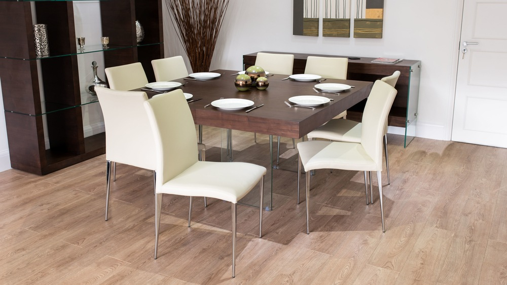 Large Square Dining Table and Beige Dining Chairs