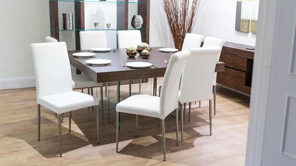 White Real Leather Dining Chairs and 8 Seater Floating Dining Table