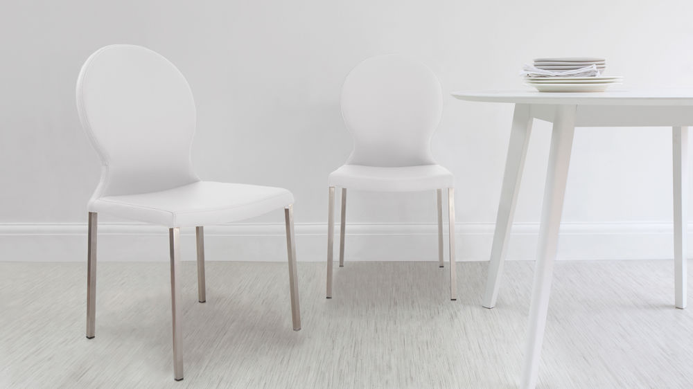 White Round Backed Dining Chairs
