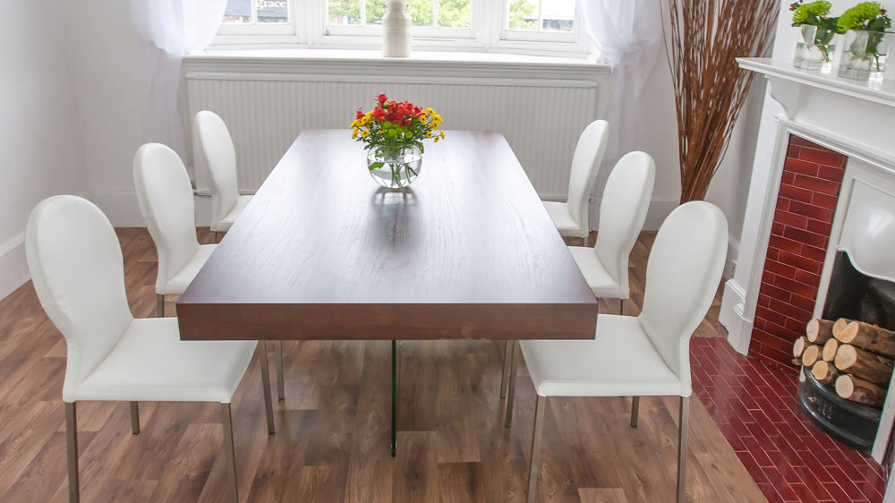 Large Floating Dining Table and Stylish White Dining Chairs