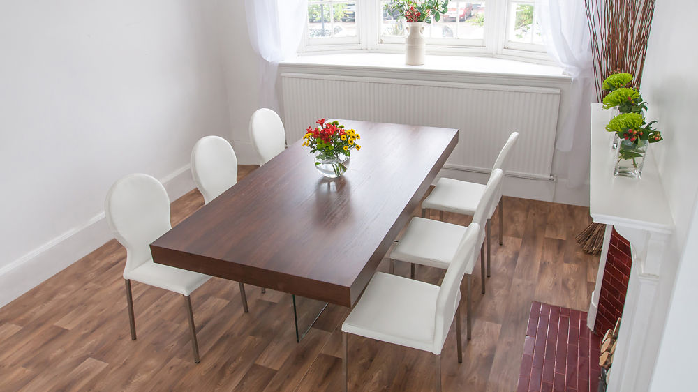 Contemporary Glass Based Dining Table and White Dining Chairs