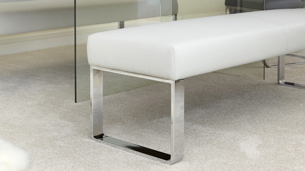 Leather Bench Chrome Leg