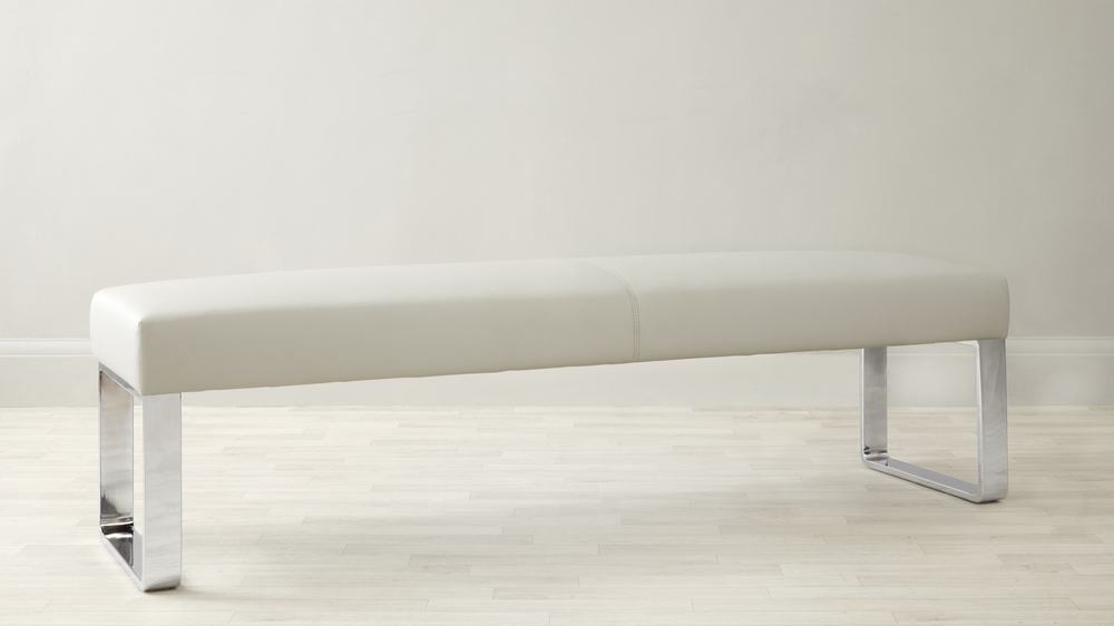 Comfortable Leather Bench with Chrome Legs