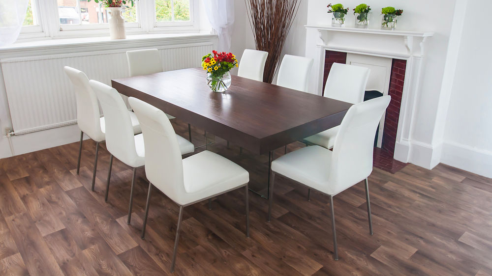 Dark Wood Funky Dining Set | Glass Legs and Chunky Table ...
