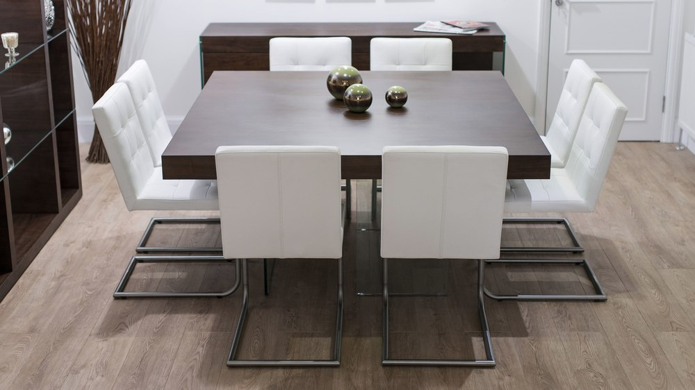 Large Square Dining Table and White Swing Chairs