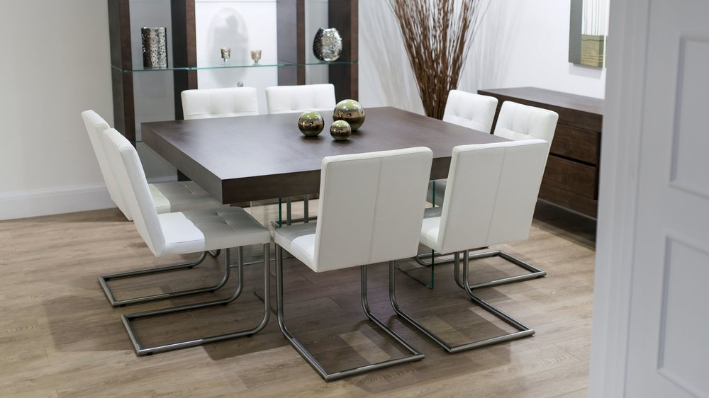 8 Seater Dark Wood Dining Table And Cantilever Chairs