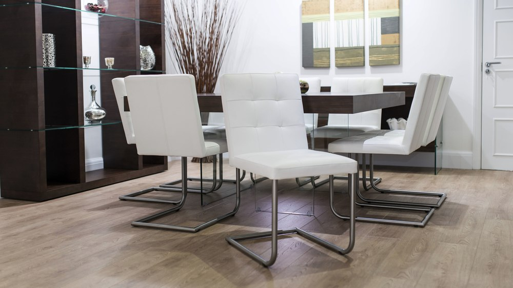 Real Leather Dining Chairs and Floating Dining Table