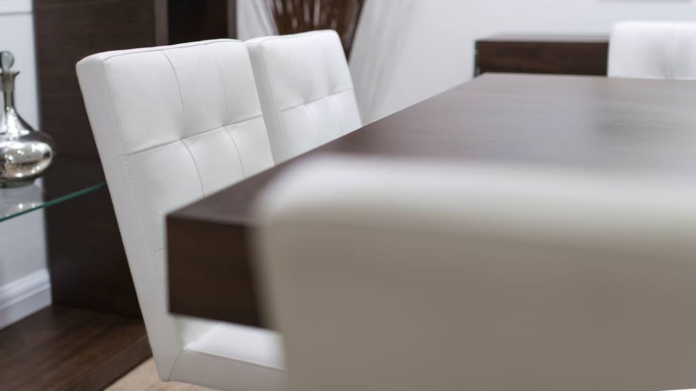 Quilted Leather Dining Chairs and Wooden Dining Table