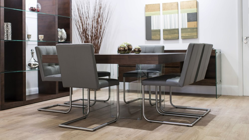 Modern Square Dark Wood Dining Set Glass Legs Real