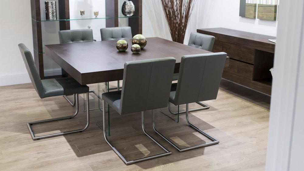 Grey Dining Chairs and Dark Wood Floating Dining Table