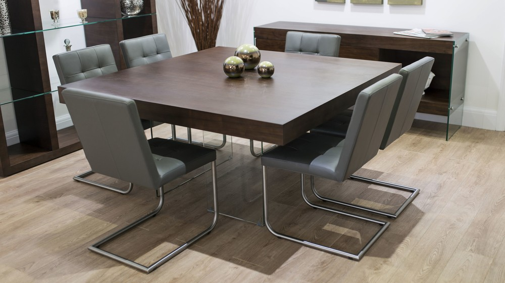 Cantilever Dining Chairs and Large Square Dining Table