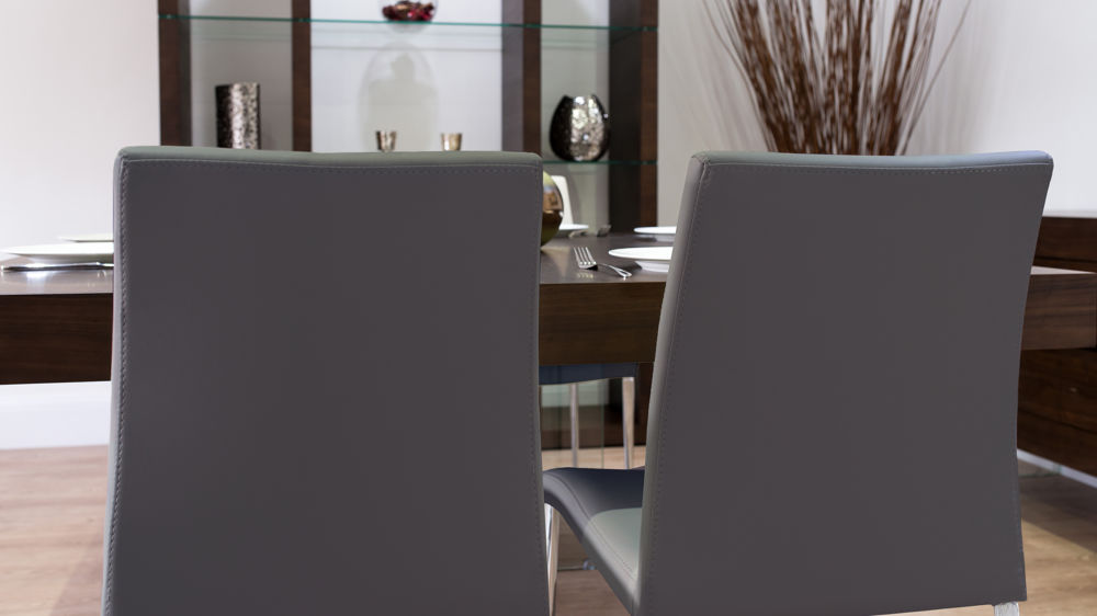 Faux Leather Dining Chairs and Dark Dining Table
