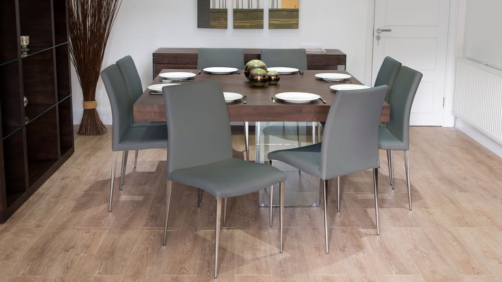 Grey Leather Dining Chairs and Glass Based Dining Table