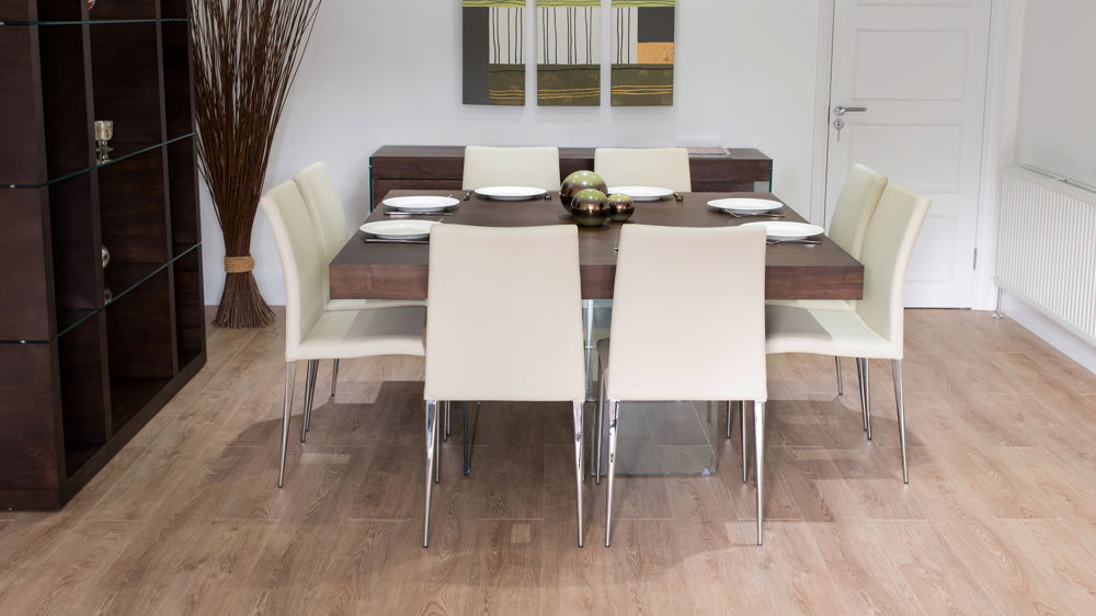 Dark Wood Floating Dining Table with Modern Dining Chairs