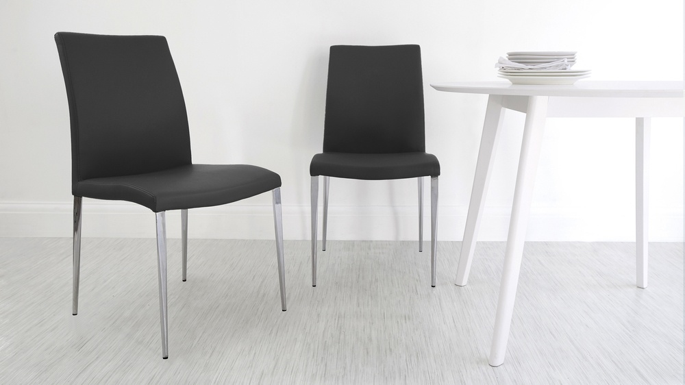 Chrome Legged Black Dining Chairs