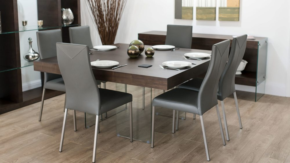 Large dark square dining table set 6 to 8 seater uk for Large dark wood dining table