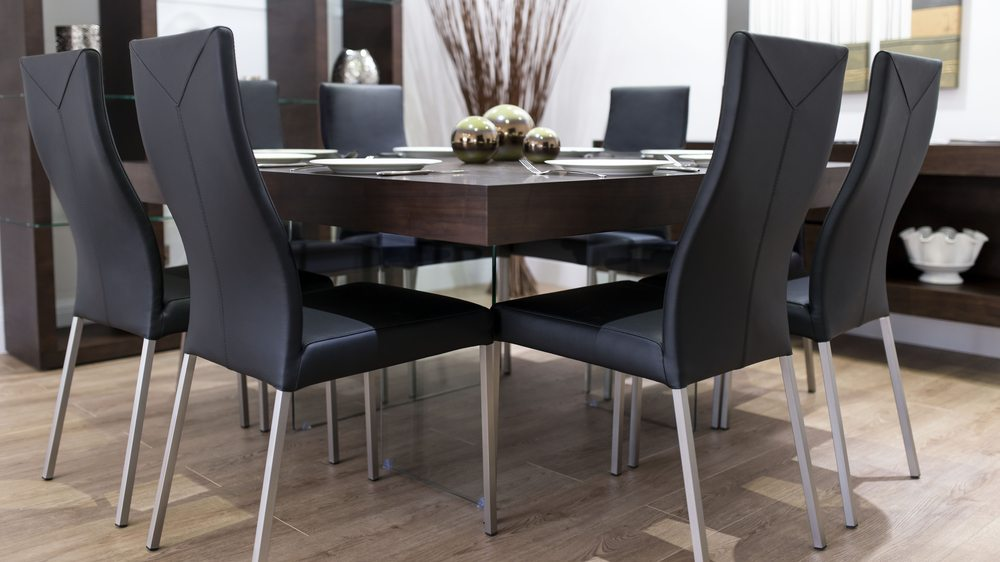 Black Dining Chairs and Large Square Dining Table