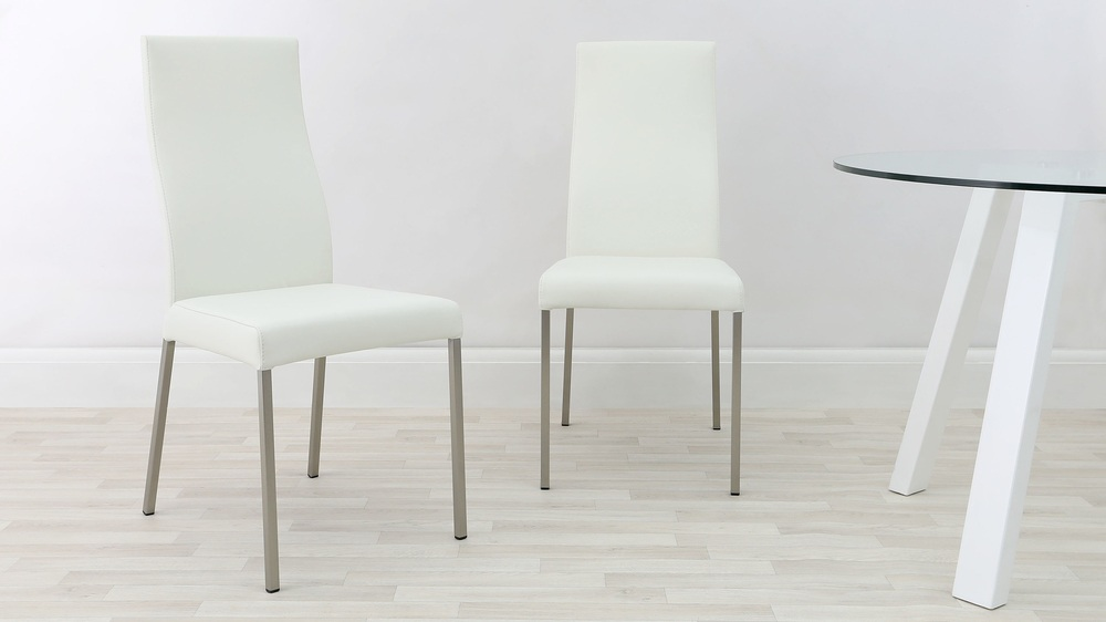 Brushed Metal Legged White Dining Chairs