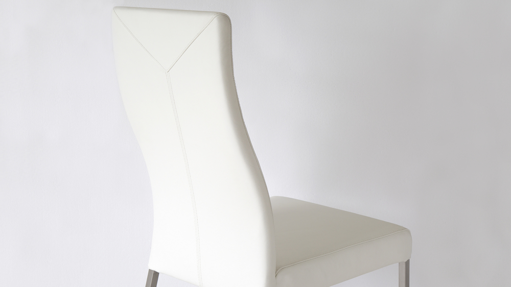 White Dining Chairs with Long High Backrest