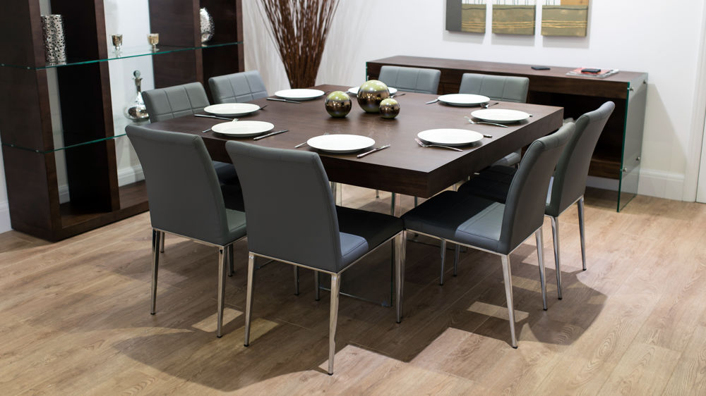 Large Square Dark Wood Dining Table