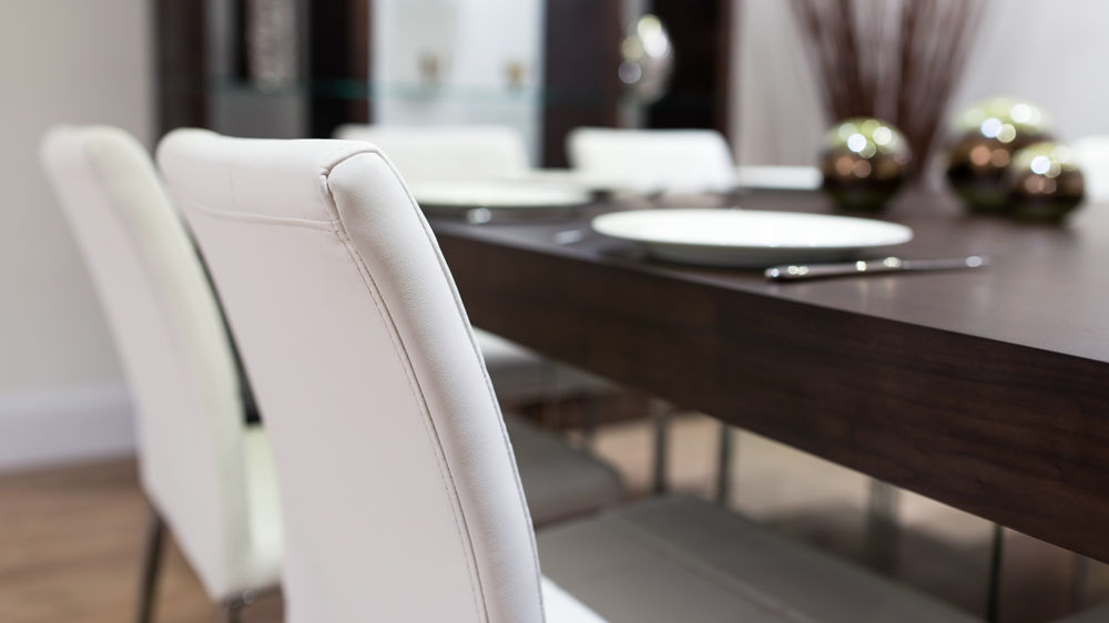 Quilted Leather Dining Chairs and Dark Wood Dining Table