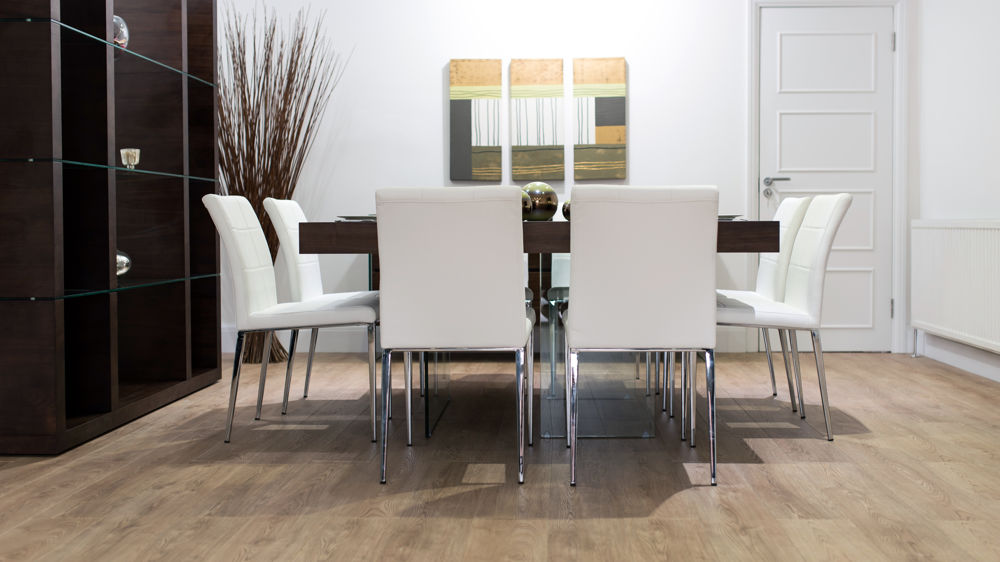 Dark Wood Floating Dining Table with White Dining Chairs