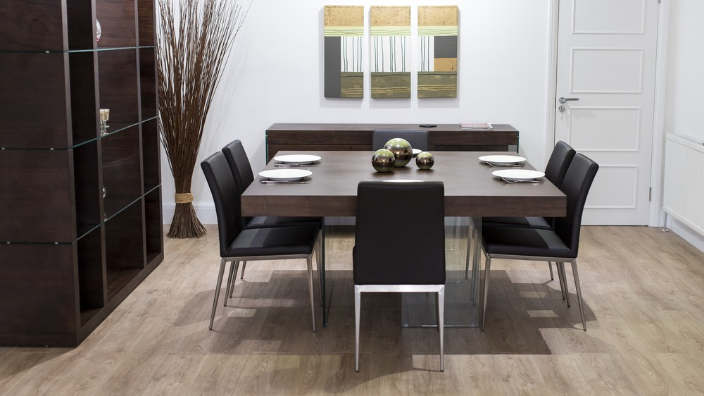 Modern Floating Dining Table and Black Dining Chairs