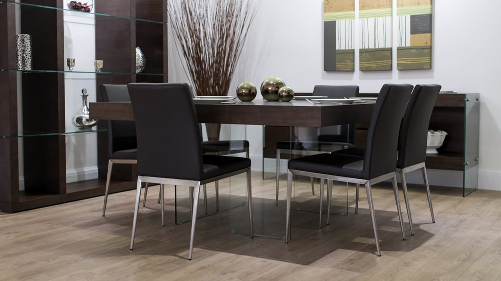 Contemporary Floating Dark Wood Dining Set