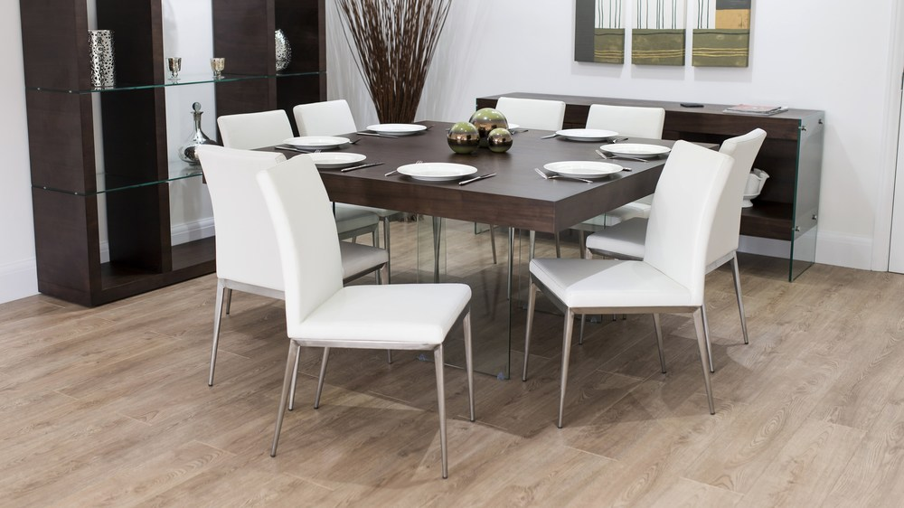 8 Seater Square Wooden Dining Table and Modern Dining Chairs