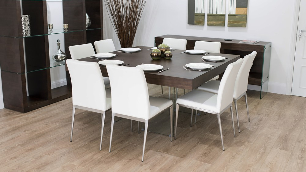 Large Dark Wood Square Dining Table and White Dining Chairs