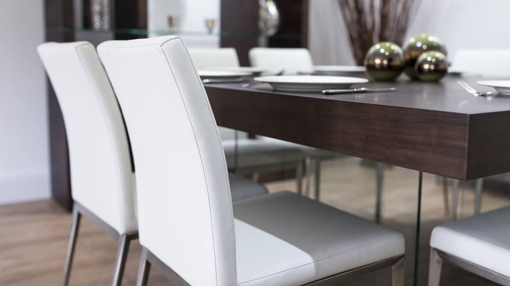 Soft Faux Leather Dining Chairs and Dark Wood Dining Table