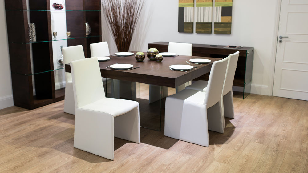 8 Seater Square Dark Wood Dining Table And Chairs Funky