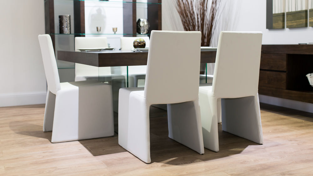 Stylish Floating Table and White Box Dining Chairs