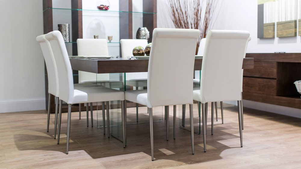 8 Seater Square Dining Table and Real Leather Dining Chairs