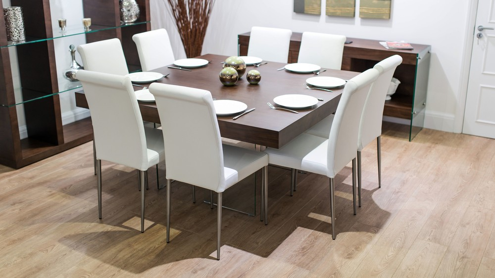 White Real Leather Dining Chairs And Square Table
