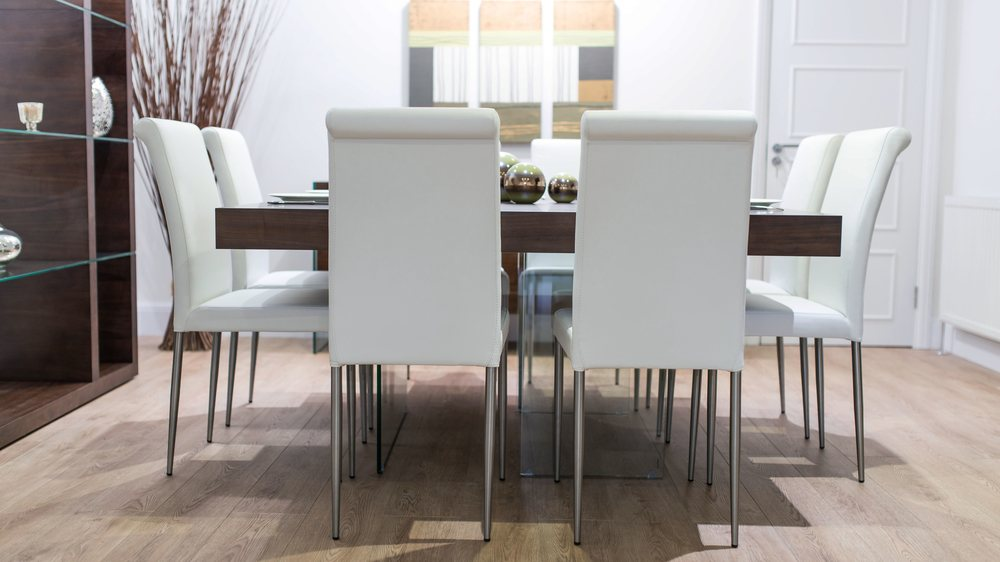 Contemporary White Dining Chairs and Wooden Dining Table